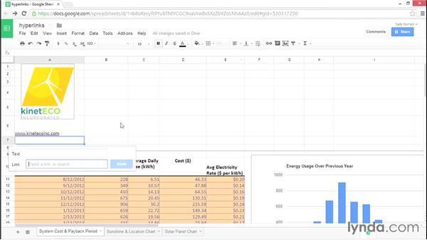 Entering hyperlinks: Google Sheets Essential Training