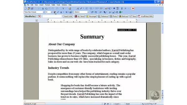 Headers and footers: WordPerfect Office X3 Essential Training