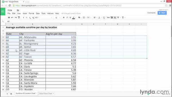 Hiding rows, columns, and sheets: Google Sheets Essential Training