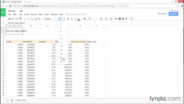Formatting cell, row, and column data: Google Sheets Essential Training
