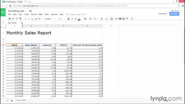 Google Sheets formatting tips: Google Sheets Essential Training