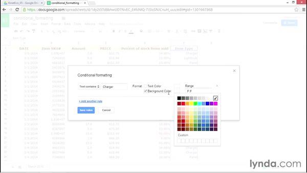 Using conditional formatting: Google Sheets Essential Training