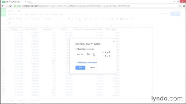 Sorting data on a spreadsheet: Google Sheets Essential Training