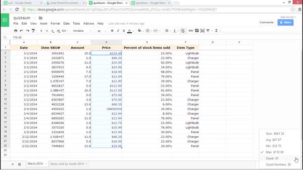 Using Quick Sum: Google Sheets Essential Training