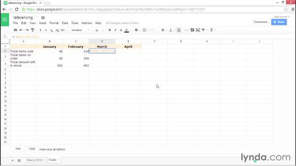 Referencing data from other sheets: Google Sheets Essential Training