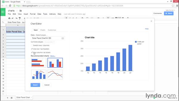 Creating charts in Google Sheets: Google Sheets Essential Training