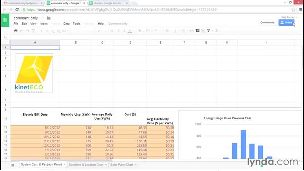 Working with Google Sheets that are shared with you: Google Sheets Essential Training