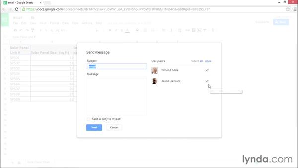 Emailing spreadsheet collaborators: Google Sheets Essential Training