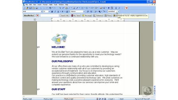 Using the thesaurus: WordPerfect Office X3 Essential Training