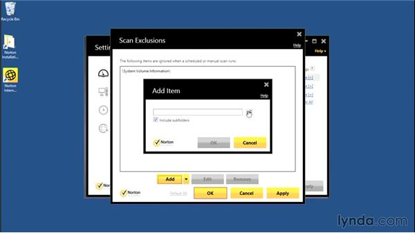 Excluding sites from scans: Norton Internet Security Essential Training
