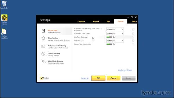 Scheduling tasks: Norton Internet Security Essential Training