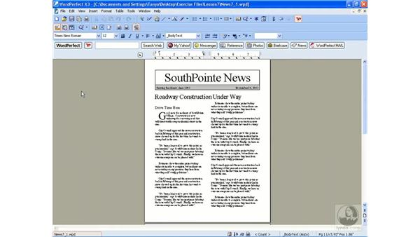 Using print preview: WordPerfect Office X3 Essential Training