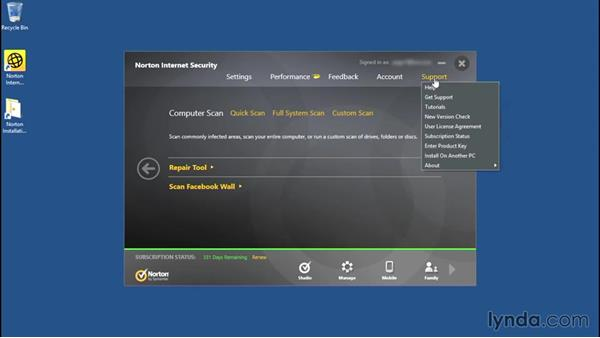 Getting help and support: Norton Internet Security Essential Training