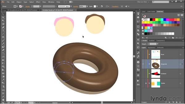 343 Creating a 3D doughnut in Illustrator