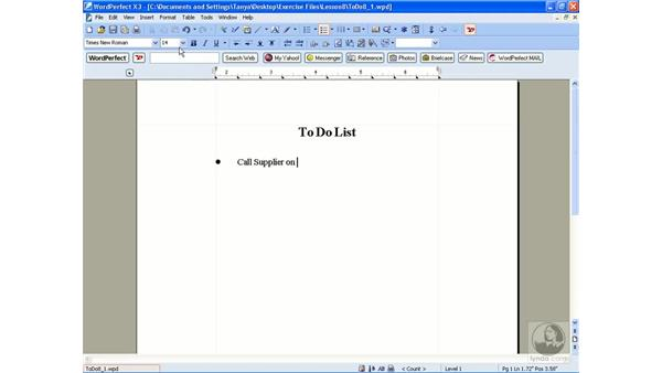 Creating a bulleted list: WordPerfect Office X3 Essential Training