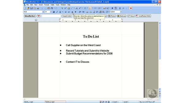 Editing a bulleted list: WordPerfect Office X3 Essential Training