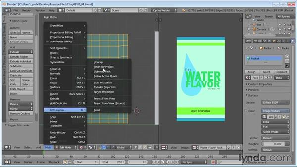 Projecting UVs on the packets: Product Shots in Blender