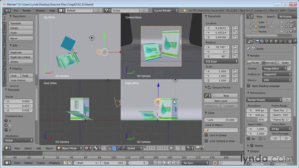 Setting up the camera: Product Shots in Blender
