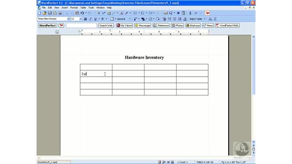 Creating tables: WordPerfect Office X3 Essential Training