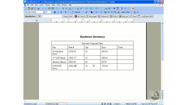 Modifying tables: WordPerfect Office X3 Essential Training