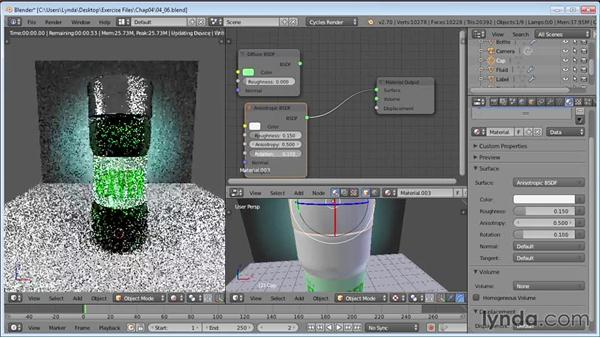 Finishing the cap using anisotropic shaders: Product Shots in Blender