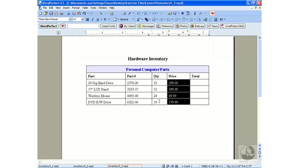 Formatting tables: WordPerfect Office X3 Essential Training