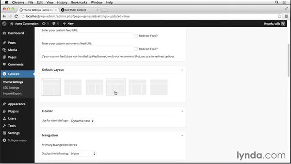 Selecting the default layout: Up and Running with Genesis for WordPress