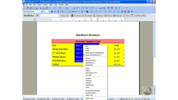 Creating charts from a table: WordPerfect Office X3 Essential Training