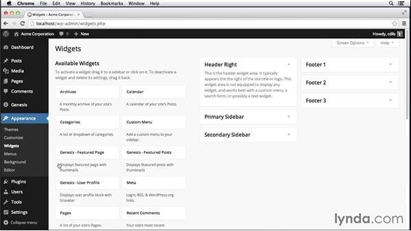 Standard Genesis widget areas: Up and Running with Genesis for WordPress