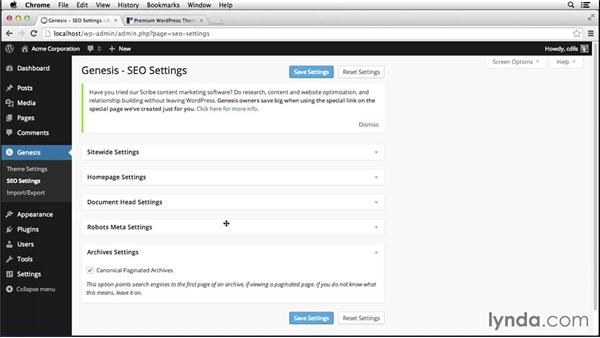 Working with built-in Genesis SEO options: Up and Running with Genesis for WordPress