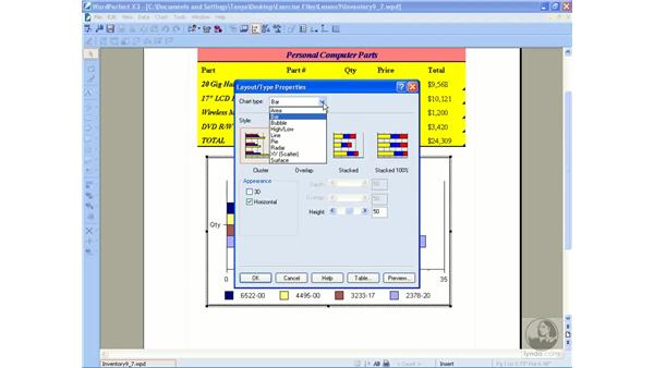 Modifying chart appearance: WordPerfect Office X3 Essential Training
