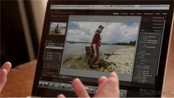 Reviewing stills and video from the shellfish shoot: Creative GoPro Photography and Video Techniques