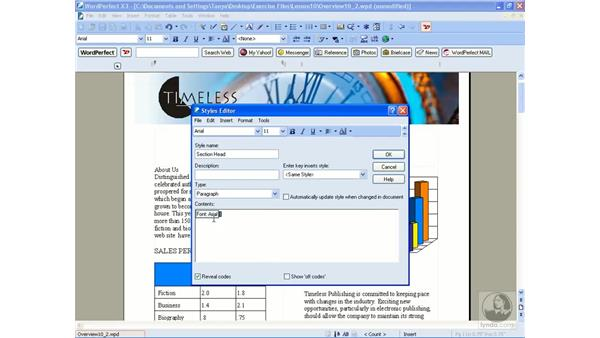 Creating styles: WordPerfect Office X3 Essential Training