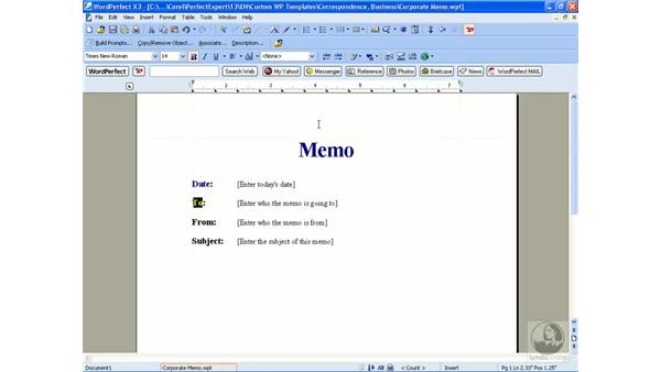 Editing a template: WordPerfect Office X3 Essential Training
