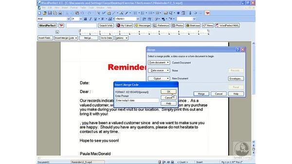 Performing a keyboard merge: WordPerfect Office X3 Essential Training