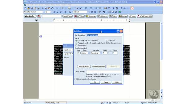 Sorting lines: WordPerfect Office X3 Essential Training