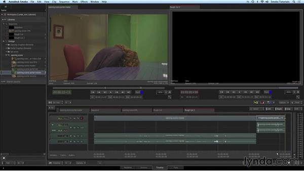 Using overwrite and insert edits to assemble the scene: Smoke 2015 Essential Training