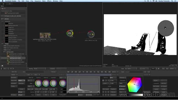 Primary and secondary color correction in ConnectFX: Smoke 2015 Essential Training