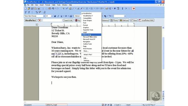 Playing a macro: WordPerfect Office X3 Essential Training