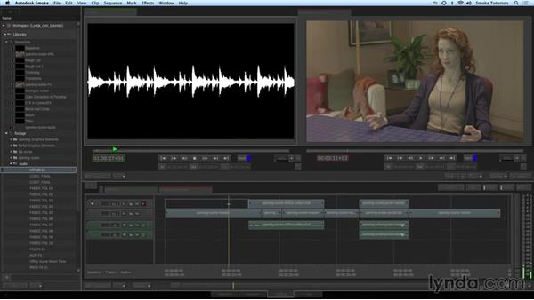 Editing audio into the timeline: Smoke 2015 Essential Training