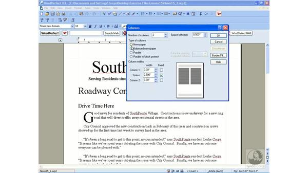 Working with newspaper columns: WordPerfect Office X3 Essential Training
