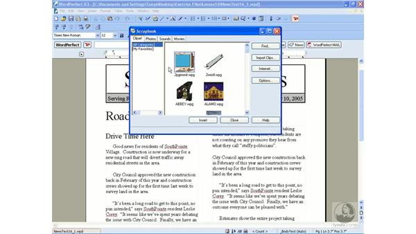 Inserting graphics: WordPerfect Office X3 Essential Training