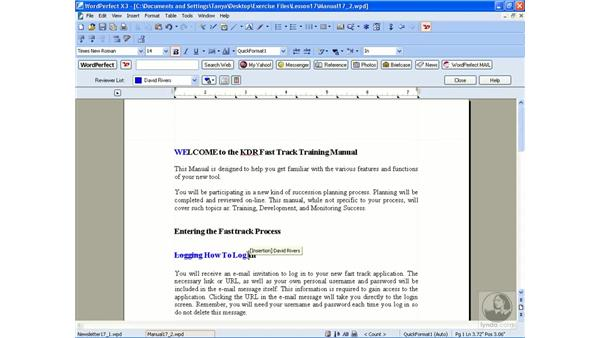 Tracking changes: WordPerfect Office X3 Essential Training