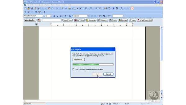 Importing PDF documents: WordPerfect Office X3 Essential Training