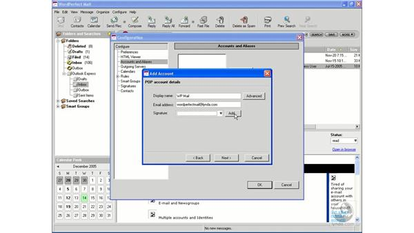 Creating a mail account: WordPerfect Office X3 Essential Training