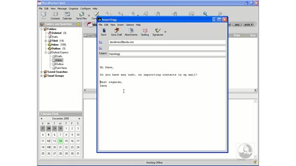 Composing a message: WordPerfect Office X3 Essential Training