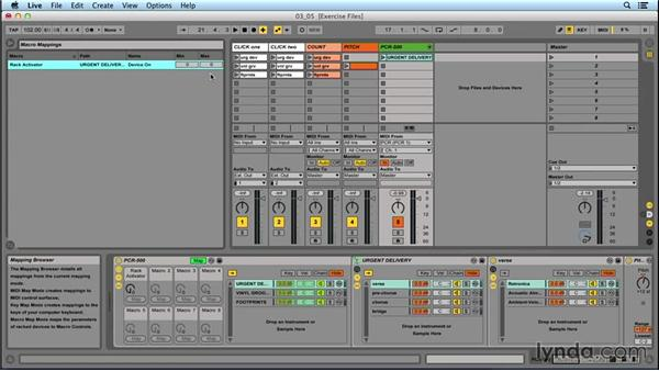 Using a macro to conserve CPU and select song presets: Performing with Ableton Live: On Stage with St. Vincent