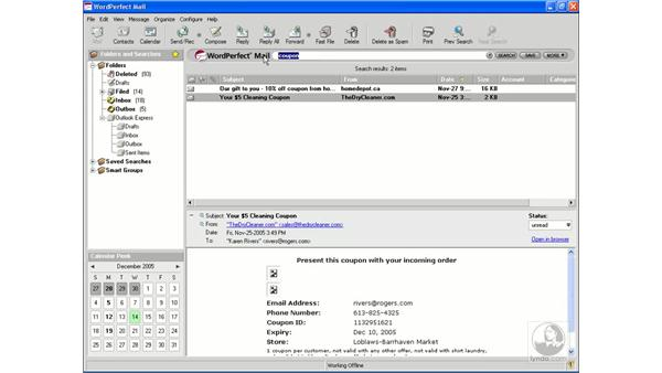 Searching mail: WordPerfect Office X3 Essential Training