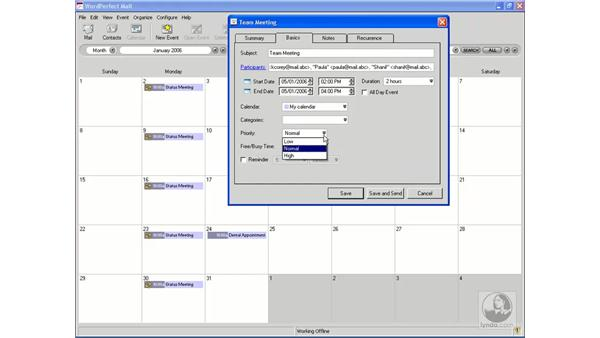 Creating and editing events: WordPerfect Office X3 Essential Training