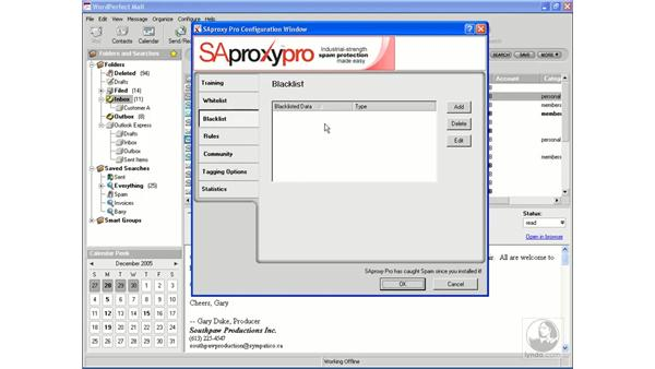 Adjusting spam protection: WordPerfect Office X3 Essential Training